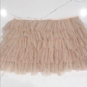 Nude tule mini skirt